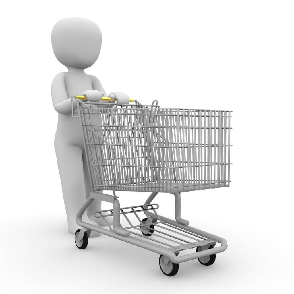 shopping cart, shopping, chrome steel